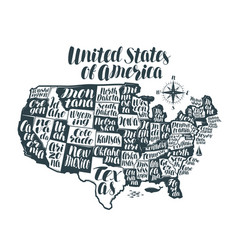 usa map country united states of america vector image vector image