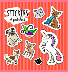 different animals stickers patches vector image vector image