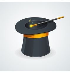 magic wand and cylinder hat vector image