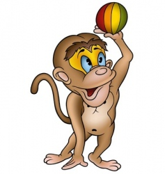 monkey and ball vector image vector image