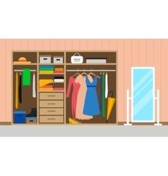 Rroom with wardrobe and mirror vector image
