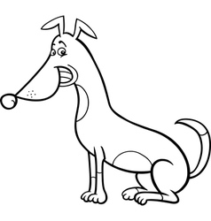 sitting dog cartoon for coloring book vector image