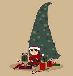 cute boy with presents under the christmas tree vector image