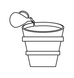 Miracle water winr jar and pot wooden outline vector