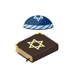 muslim tradition islam hat source jew bible book vector image
