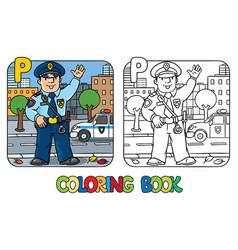 policeman profession abc coloring book alphabet p vector image
