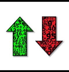 Up and Down Arrows Stock Green and Red vector image