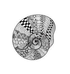 Zentangle stylized black seashell Hand Drawn vector image vector image