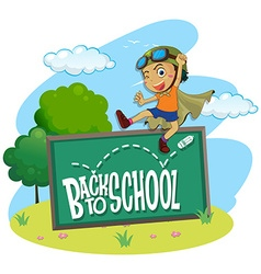 Back to school theme with boy jumping vector image