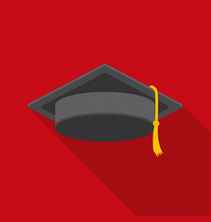 graduation cap icon in flat style isolated on vector image