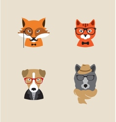 Hipster Animals set of icons vector image vector image
