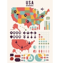 United States of America USA map with infographics vector image vector image