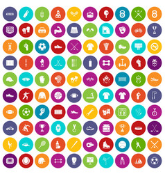 100 athlete icons set color vector