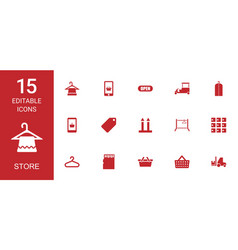 15 store icons vector image