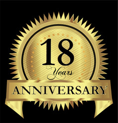 18 years happy anniversary gold seal design vector image