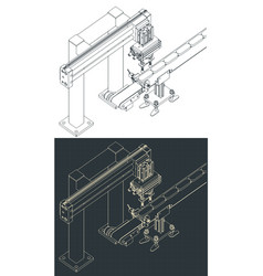 Automated factory line isometric vector