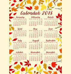 Autumn foliage of fall leaf calendar 2018 vector