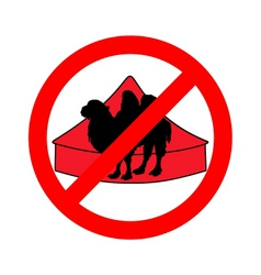 bactrian camel in circus prohibited vector image vector image