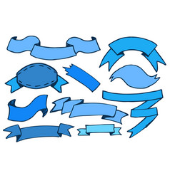 banners of blue color drawn vector image