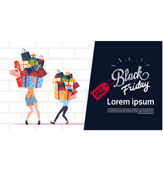 black friday sale poster with couple holding gift vector image