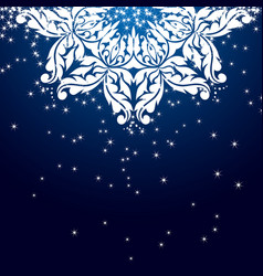 blue christmas snowflake ornament vector image