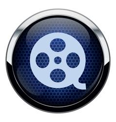 Blue honeycomb movie icon vector image