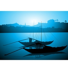 Boats Docked on the River Bed vector