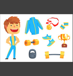 bodybuilder muscular man set for label design vector image