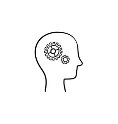 brain with gears head hand drawn sketch icon vector image