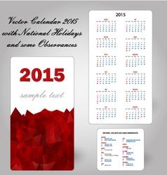 calendar usa holidays vector image