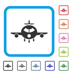 cargo aircraft framed icon vector image