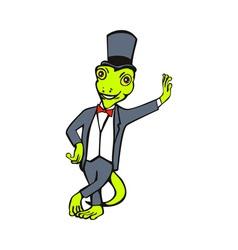 cartoon gecko with top hat bow tie tuxedo standing vector image