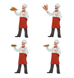 chef keeps a dish of food vector image