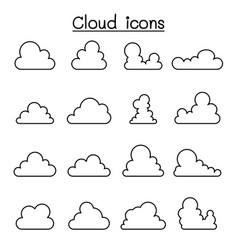 cloud icon in thin line style vector image