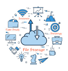 cloud with arrows on upload and download vector image