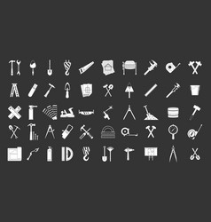 construction tools icon set grey vector image
