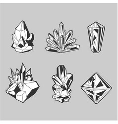 Crystal set isolated icons collection grayscale vector
