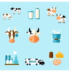 Cute cartoon a cow and products we vector