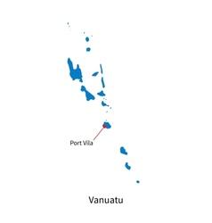 Detailed map of Vanuatu and capital city Port Vila vector
