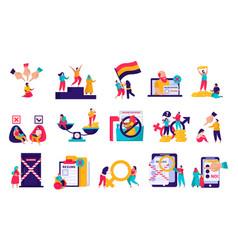 Discrimination flat icons set vector
