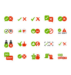 Do and do not icon set vector