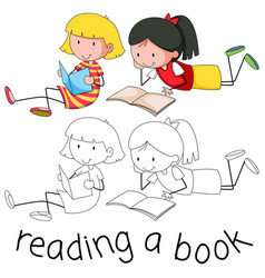 Doodle girls reading book vector