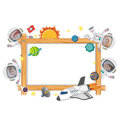 Empty wooden frame with astronaut kids cartoon vector
