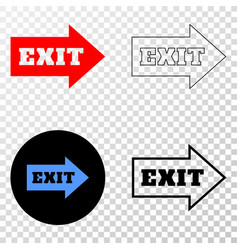 exit arrow eps icon with contour version vector image