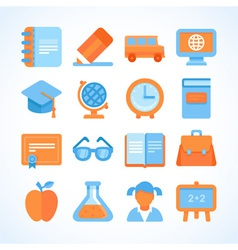 Flat icon set of education symbols vector
