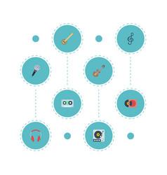Flat icons earphone tape karaoke and other vector