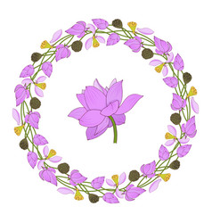 flowers and buds pink lotuses wreath vector image