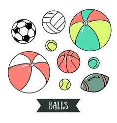 freehand drawing sport balls set sports design vector image
