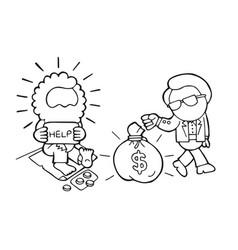 hand-drawn cartoon of rich man giving money bag vector image