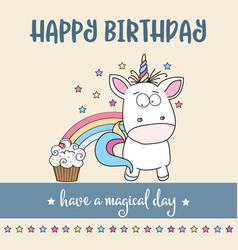 happy birthday card with lovely baunicorn vector image